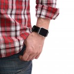 Black Leather Apple Watch Band - 38mm, 40mm, 42mm, 44mm (SKU: PN0117AW)