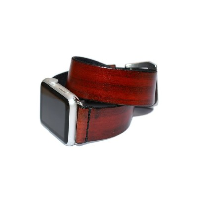 Red Double Wrap Leather Apple Watch Strap- 38mm, 40mm, 42mm, 44mm (SKU: PN0178AW)