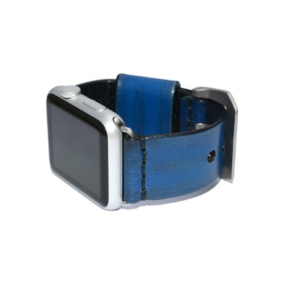 Blue Leather Apple Watch Band - 38mm, 40mm, 42mm, 44mm (SKU: PN0240AW)