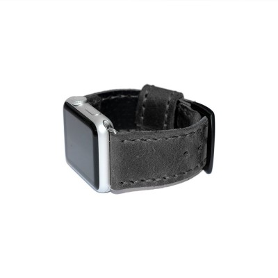 Black Leather Apple Watch Band - 38mm, 40mm, 42mm, 44mm (SKU: PN0242AW)