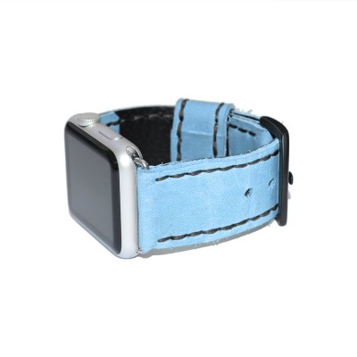 Apple Watch Band - Blue Leather - 38mm, 40mm, 42mm, 44mm (SKU: PN0245AW)