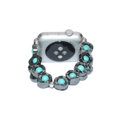 Hematite and Turquoise Apple Watch Strap - 38mm, 40mm, 42mm, 44mm (SKU: PN0279AW)