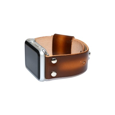 Brown Genuine Leather Apple Watch Band - 38mm, 40mm, 42mm, 44mm (SKU: PN0305AW)