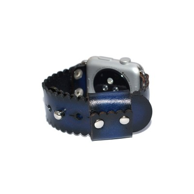 Blue Genuine Leather Apple Watch Band - 38mm, 40mm, 42mm, 44mm (SKU: PN0339AW)