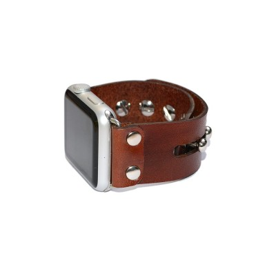 Brown Genuine Leather Apple Watch Band - 38mm, 40mm, 42mm, 44mm (SKU: PN0456AW)