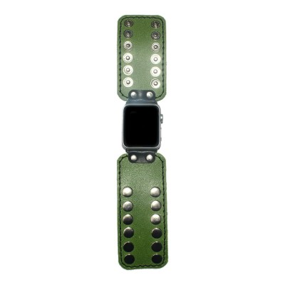Green Apple Watch Strap Leather - 38mm, 40mm, 42mm, 44mm (SKU: PN0490AW)