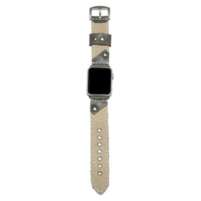 Apple Watch Band - Leather and Fabric - 38mm, 40mm, 42mm, 44mm (SKU: PN0507AW)