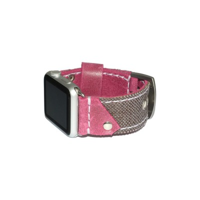 Genuine Leather and Fabric Apple Watch Band - 38mm, 40mm, 42mm, 44mm (SKU: PN0511AW)