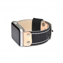 Black Genuine Leather Apple Watch Band  - 38mm 40mm 42mm 44mm – PN0540AW
