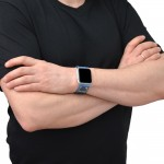 Blue Leather Apple Watch Band - 38mm, 40mm, 42mm, 44mm (SKU: PN0579AW)