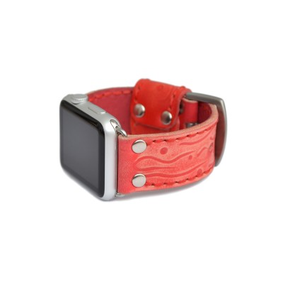Red Apple Watch Strap Leather - 38mm, 40mm, 42mm, 44mm (SKU: PN0626AW)