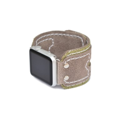 Genuine Leather and Fabric Apple Watch Band - 38mm, 40mm, 42mm, 44mm (SKU: PN0702AW)