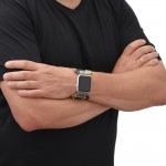 Genuine Leather and Fabric Apple Watch Band - 38mm, 40mm, 42mm, 44mm (SKU: PN0717AW)