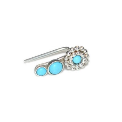 Ear Climber Earring with Turquoise gemstone - Sterling Silver or Gold filled (SKU: PN0342P)