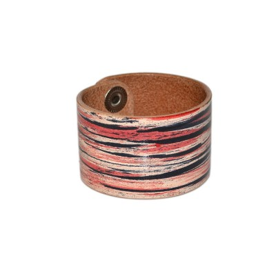 Black Red Leather Wide Bracelet (SKU: PN0098L)