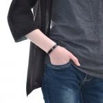 Black Leather Cuff Bracelet (SKU: PN0149L)
