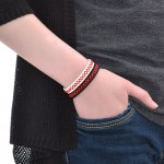 Black Leather Cuff Bracelet (SKU: PN0194L)