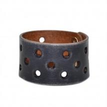 Black Leather Wide Bracelet