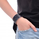 Black Leather Wide Bracelet (SKU: PN0265L)