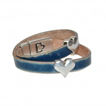 Blue Leather Hearts Wrap Bracelet