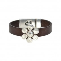 Chamomile Leather Bracelet Brown