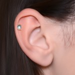 Tragus Barbells with a ball and CZ gemstone - Surgical Steel (SKU: PN1300SSH)