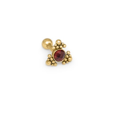 Tragus Barbells with a ball and Garnet gemstone - Surgical Steel (SKU: PN1344SSH)