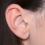 Cartilage Barbells with a ball and Opal gemstone - Surgical Steel (SKU: PN1350SSH)