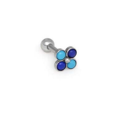 Tragus Barbells with a ball and turquoise and lapis lazuli gemstones - Surgical Steel (SKU: PN1367SSH)