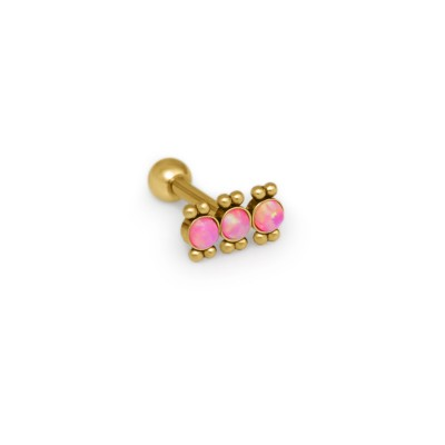 Cartilage Barbells with a ball and Opal gemstone - Surgical Steel (SKU: PN1379SSH)