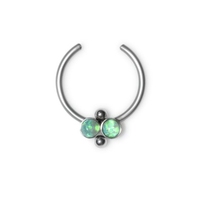 Fake Septum Ring with Opal gemstones - Surgical Steel (SKU: PN2536SSH)