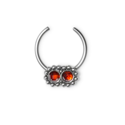 Fake Septum Ring with CZ gemstones - Surgical Steel (SKU: PN2537SSH)