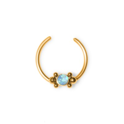 Fake Septum Ring with Opal gemstone - Surgical Steel (SKU: PN2538SSH)