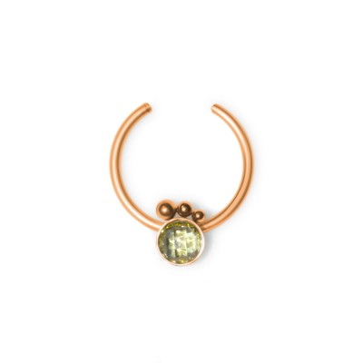Fake Septum Ring with CZ gemstone - Surgical Steel (SKU: PN2539SSH)