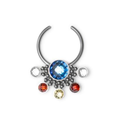 Fake Septum Ring with CZ gemstones - Surgical Steel (SKU: PN2551SSH)