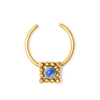 Fake Septum Ring with Opal gemstone - Surgical Steel (SKU: PN2552SSH)