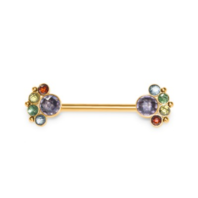 Nipple Barbell with CZ gemstones - Surgical Steel (SKU: PN1960-1SSH)