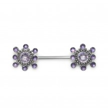 Nipple Barbell with CZ gemstones - Surgical Steel - PN1969-1SSH