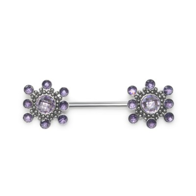 Nipple Barbell with CZ gemstones - Surgical Steel (SKU: PN1969-1SSH)