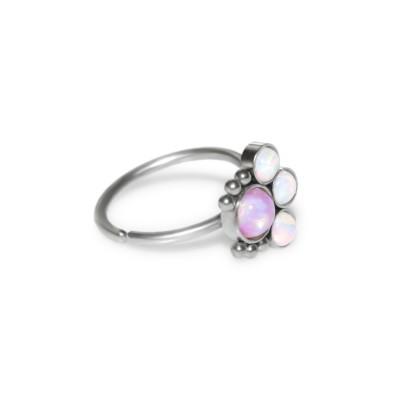 Nose Ring Hoop with Opal gemstones - Surgical Steel (SKU: PN1073SSH)