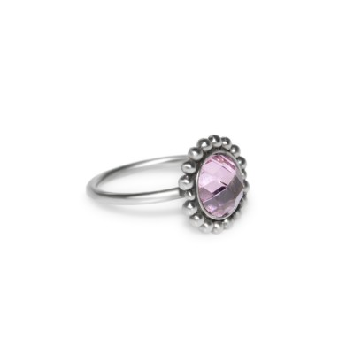 Nose Ring Hoop with Purple CZ gemstone - Surgical Steel (SKU: PN1126SSH)