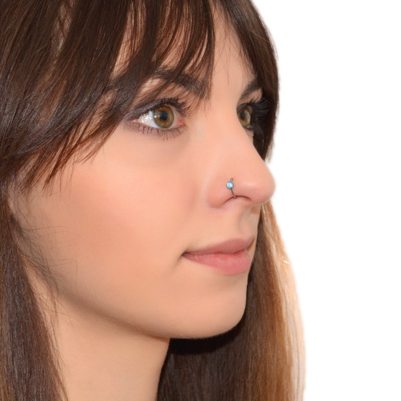 Nose Ring Hoop With Blue Opal Gemstone Pn0054ssh Buy At Low Price