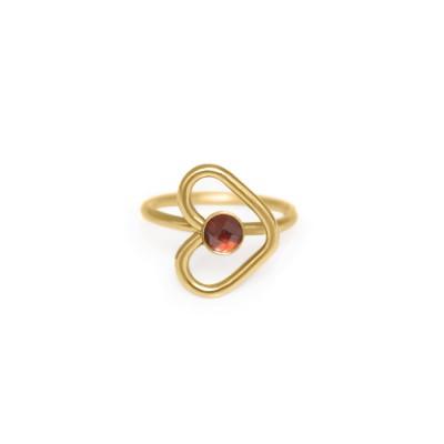 Nose Ring Hoop as heart with Garnet gemstone - Surgical Steel (SKU: PN0081SSH)