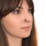 Nose Ring Hoop as Trinity in the Matrix with Onyx gemstones - Surgical Steel (SKU: PN0082SSH)