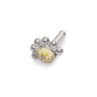 Tragus Earring Stud with 3mm Yellow CZ gemstone - Surgical Steel (SKU: PN0011SSH)