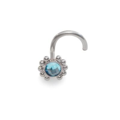 Tragus Earring Stud with 3mm Light Blue CZ gemstone - Surgical Steel (SKU: PN0013SSH)