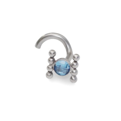 Nose Stud with Dark Blue CZ 3mm gemstone - Surgical Steel (SKU: PN0017SSH)