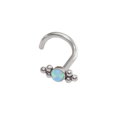 Nose Stud with Blue Opal 2mm gemstone - Surgical Steel (SKU: PN0021SSH)