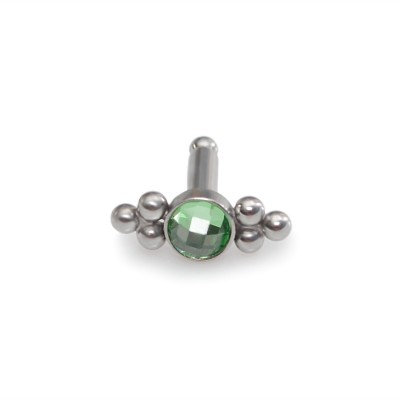 3mm Green CZ Tragus Earring Stud Surgical Steel