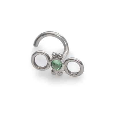 Tragus Earring Stud with 2mm Green CZ gemstone - Surgical Steel (SKU: PN0036SSH)